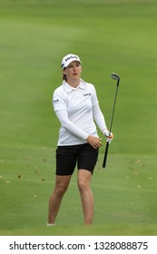 PATTAYA, THAILAND-FEBRUARY 21: Lindy Duncan of USA in action during Round 1 of Honda LPGA Thailand 2019 on February 21, 2019 at Siam Country Club Old Course in Pattaya, Thailand