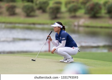 PATTAYA, THAILAND-FEBRUARY 21:Jin-young Ko of South Korea thinks of next move during Round 1 of Honda LPGA Thailand 2019 on February 21, 2019 at Siam Country Club Old Course in Pattaya, Thailand