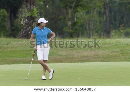 PATTAYA THAILAND-FEBRUARY 21-Lorena Ochoa of Mexico stands on green in Final Round of Honda LPGA Thailand 2010 on Feb 21, 2010 at Siam Country Club Old ...