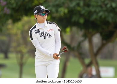 PATTAYA, THAILAND-FEBRUARY 23: Hyo-joo Kim of South Korea in action during R3 of Honda LPGA Thailand 2019 on February 23, 2019 at Siam Country Club Old Course in Pattaya, Thailand