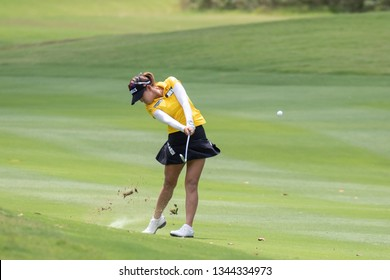 PATTAYA, THAILAND-FEBRUARY 23: Jenny Shin of South Korea in action during R3 of Honda LPGA Thailand 2019 on February 23, 2019 at Siam Country Club Old Course in Pattaya, Thailand