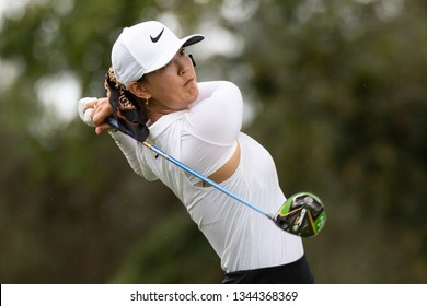 PATTAYA, THAILAND-FEBRUARY 23: Michelle Wie of USA in action during R3 of Honda LPGA Thailand 2019 on February 23, 2019 at Siam Country Club Old Course in Pattaya, Thailand