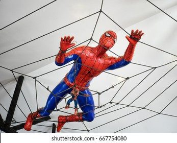 PATTAYA,THAILAND - 25 June, 2017: The Spider-man model climbing on the web near the ceiling to promote for a new film Spider-Man Homecoming.