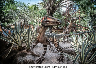 Pattaya,Thailand - 28 September 2018: Sculpture of a Dinosaur Valley model in Suan Nongnooch Pattaya.