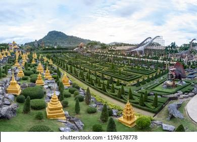 Pattaya,Thailand - 4 August 2018: Garden landscape of  Suan Nongnooch Pattaya.