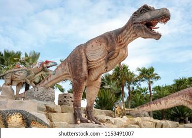 Pattaya,Thailand - 4 August 2018: Sculpture of a Dinosaur Valley model in  Suan Nongnooch Pattaya.