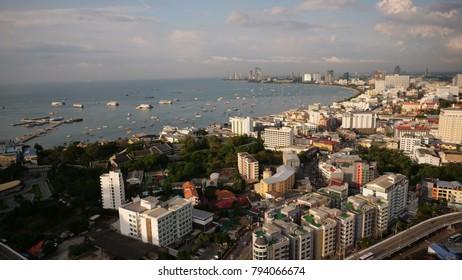 PATTAYA,THAILAND - CIRCA October 2017 :evening aerial of Pattaya Coast