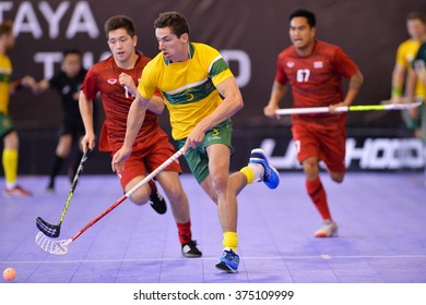 PATTAYA,THAILAND FEB4:Monckton Jeremy#5 of Australia runs for the ball during the Men's World Floorball Championships Qualifications 2016 between Thailand and Australia on February4,2016 in Thailand