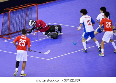 PATTAYA,THAILAND FEB5:Goalkeeper of Japan in action during the Men's World Floorball Championships Qualifications 2016 between Japan vs Singapore on February5,2016 in Thailand