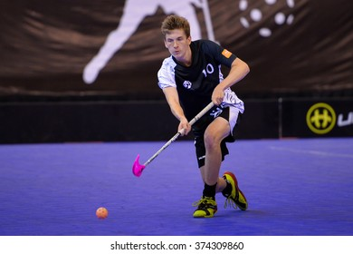 PATTAYA,THAILAND FEB5:Patrick Brendan of New Zealand hit the ball during the Men's World Floorball Championships Qualifications 2016 between Korea vs New Zealand on February5,2016 in Thailand