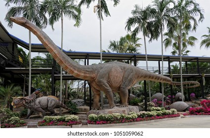 Pattaya,Thailand- February 23,2018: Apatosaurus in the park of Madame Nong Nooch