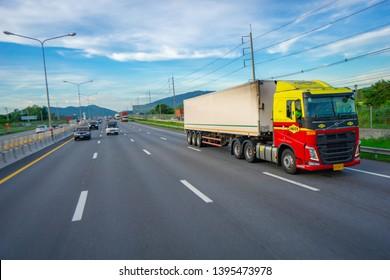 Pattaya,Thailand - MAY 2019:Many car and truck use Motorway Pattaya for tranportation from Bangkok to chonburi province.