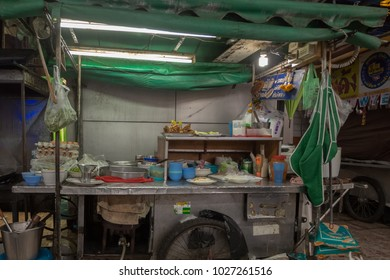 PATTAYA,THAILAND - OCTOBER 12,2016: Second Road These popular cookshops are almost everywhere in the city and they offer typical Thai food.This one is on the corner to Soi 8.