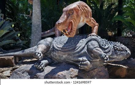 Pattaya,Thailand - October 2018: Dinosaur sculpture model in Suan Nongnooch Pattaya.