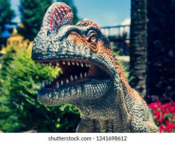 Pattaya,Thailand - October 2018: Dinosaur sculpture model in Suan Nongnooch Pattaya (cross process)