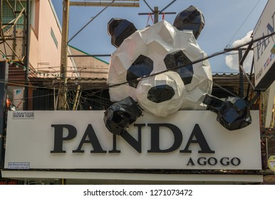 PATTAYA,THAILAND - OCTOBER 29,2018:Walking Street This the Panda A Gogo,a bar for adult nightlife entertainment,where sexy women dance on small stages.