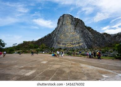 "Pattaya/Thailand-JUN 5, 2019: Khao Chi Chan at Pattaya in Thailand, non-English text ""created in 1996, buddha's name is Phra Puttha Maha Wachira Uttamopat Satsada."""