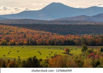 Patten Maine Mount Katahdin view and hay field