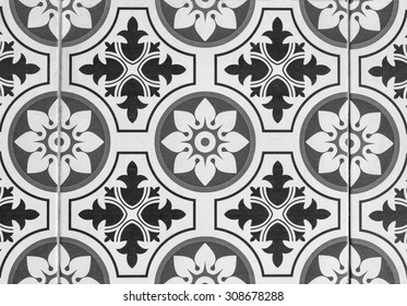 Pattern and art of ceramic decorate on wall and floor.