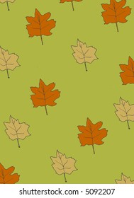 pattern of autumn leaves repeating with a green background