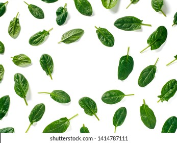 Pattern from baby spinach leaves with copy space in center. Fresh green baby spinach isolated on white with clipping path. Top view or flat lay. Can use for design vegan and keto diet