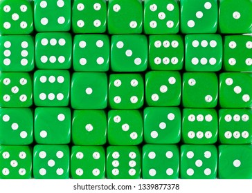 Pattern background of green dices, random ordered