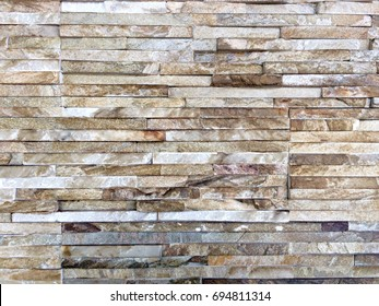 pattern background : line of brown stone pattern wall