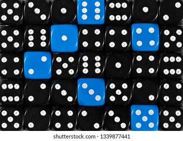 Pattern background of random ordered black dices with six blue cubes