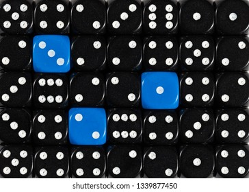 Pattern background of random ordered black dices with three blue cubes