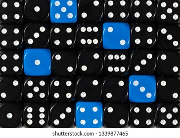 Pattern background of random ordered black dices with five blue cubes