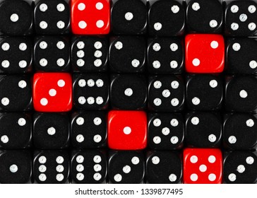 Pattern background of random ordered black dices with five red cubes
