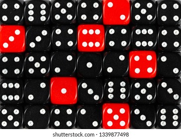 Pattern background of random ordered black dices with six red cubes