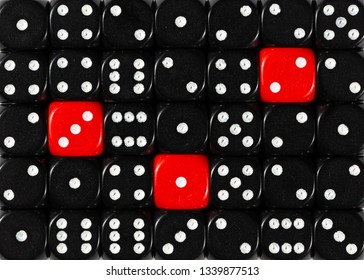 Pattern background of random ordered black dices with three red cubes