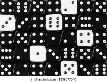 Pattern background of random ordered black dices with sixwhite cubes