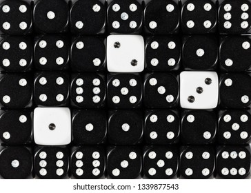 Pattern background of random ordered black dices with three white cubes