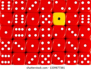 Pattern background of random ordered red dices with one yellow cube