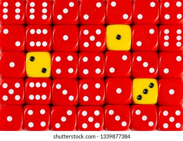 Pattern background of random ordered red dices with three yellow cubes