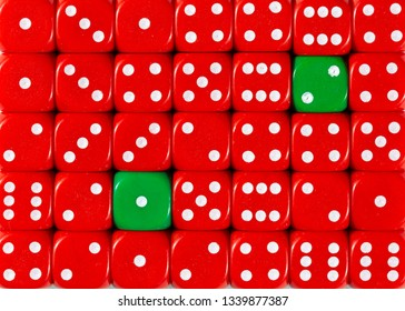 Pattern background of random ordered red dices with two green cubes