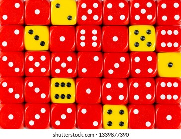 Pattern background of random ordered red dices with six yellow cubes