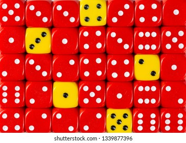 Pattern background of random ordered red dices with five yellow cubes