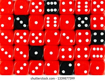 Pattern background of random ordered red dices with six black cubes