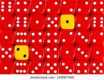 Pattern background of random ordered red dices with two yellow cubes