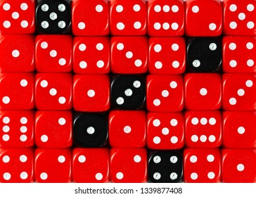 Pattern background of random ordered red dices with five black cubes