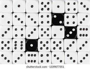 Pattern background of random ordered white dices with three black cubes