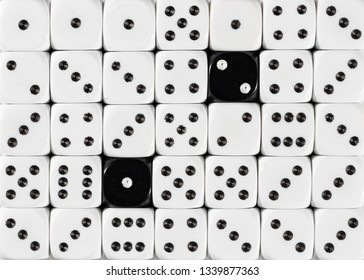 Pattern background of random ordered white dices with two black cubes