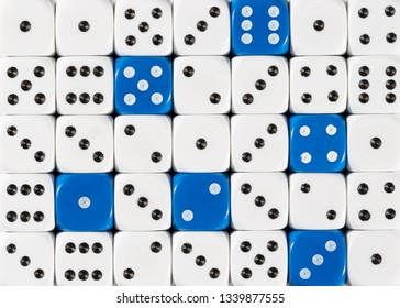 Pattern background of random ordered white dices with six blue cubes