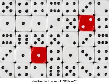 Pattern background of random ordered white dices with two red cubes