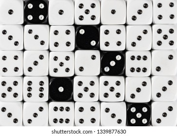 Pattern background of random ordered white dices with five black cubes