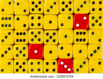 Pattern background of random ordered yellow dices with three red cubes