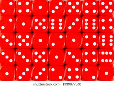 Pattern background of red dices, random ordered